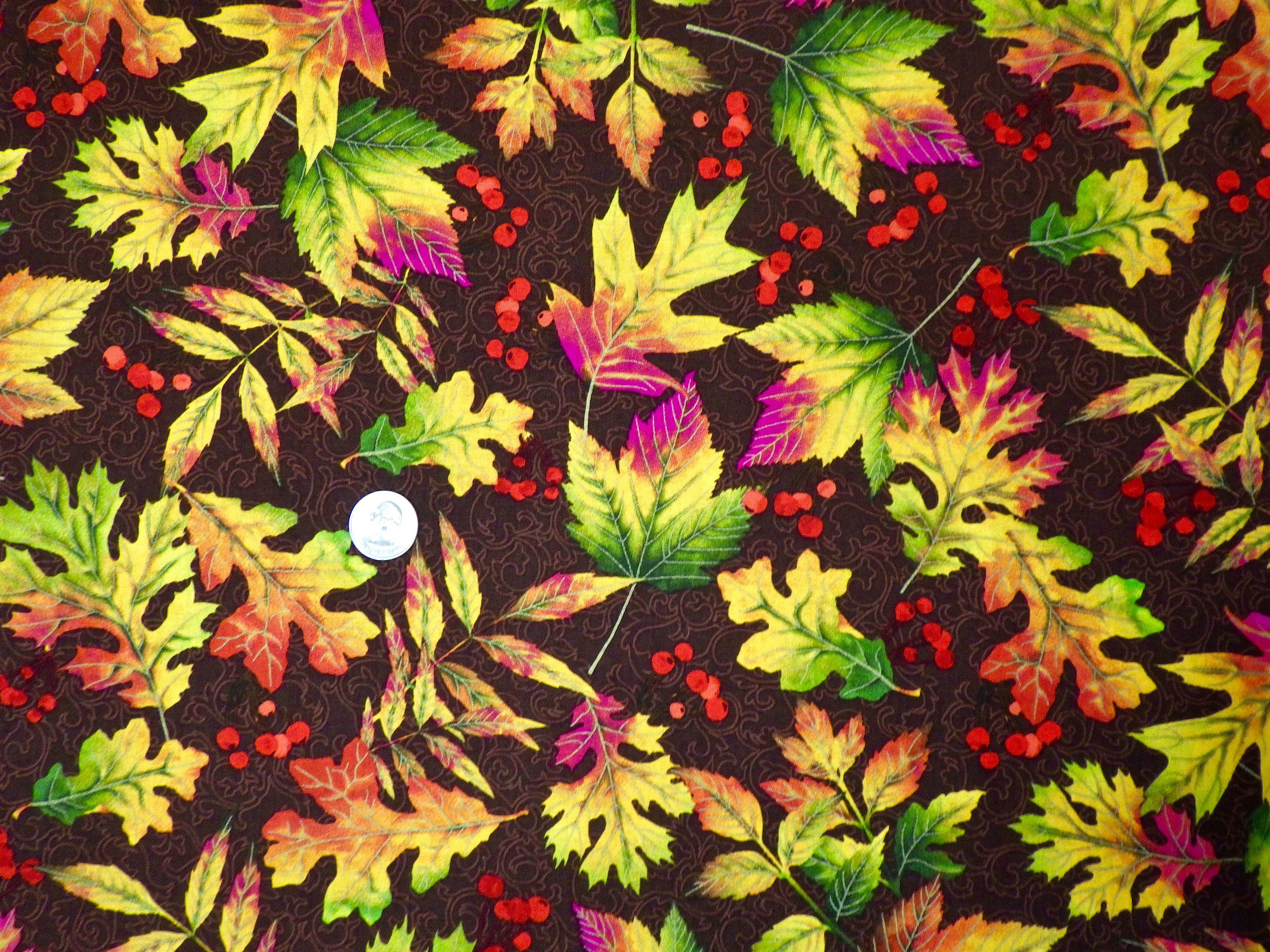 FQ 100/% Crafting Cotton Fabric Red Autumn Leaves on White