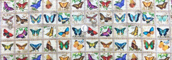 Beautiful butterfly fabric. Various multicolored butterflies in dotted squares. Library of Rarities by R. Kaufman 19598 - Fabric by the yard