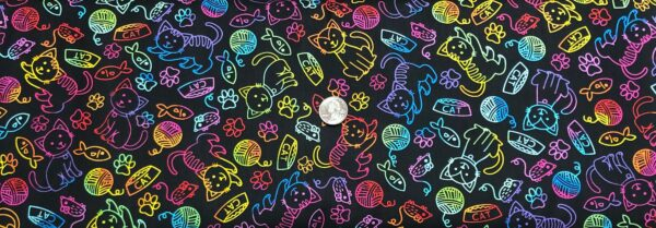Cats in rainbow outlines all over black. Cat by Timeless Treasures C7037 - One yard of fabric.