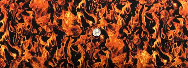 Flames! Fire - flames in bright orange all over black. Fire by Timeless Treasures C7734. One yard of fabric