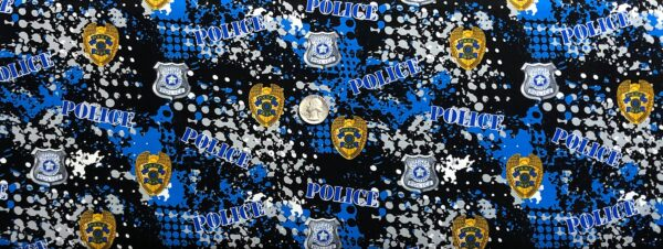 Police! Blue, black, grey police badges and dots all over black. Military Prints 1180 - PD - Fabric by the yard.