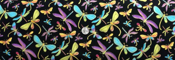 Multicolored dragonflies all over black with gold accents. Dragonfly M1 by R. Kaufman - Fabric by the yard.