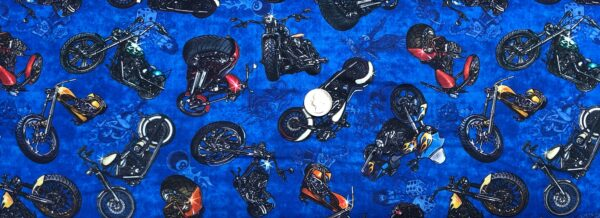 Motorcyles in multicolors on blue. Easy Rider by QT 27481 - fabric by the yard
