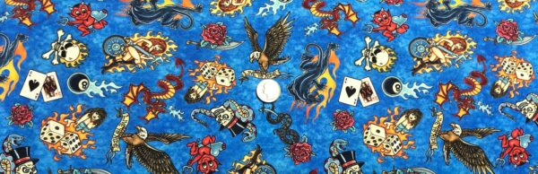 Steampunk bikers! Skeletons, little devils, cars, dragons and more. Easy Rider by QT 27482 - fabric by the yard