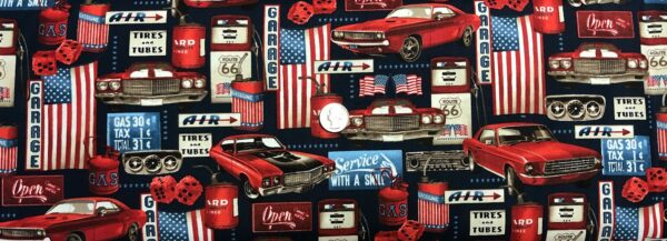 American Muscle cars and Route 66 in red, white and blues! American Muscle by Studio E 5333- fabric by the yard