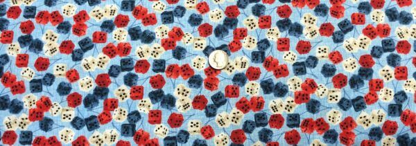 Fuzzy dice on light blue in American Muscle red, white and blues! American Muscle by Studio E 5338 - fabric by the yard