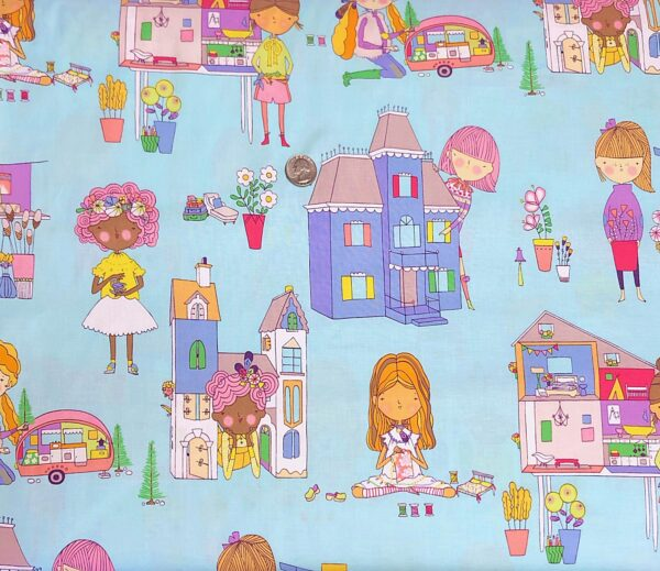 Alexander Henry 8681 BR Welcome to My Dollhouse girls and dollhouses of types on blue. Fabric by the yard