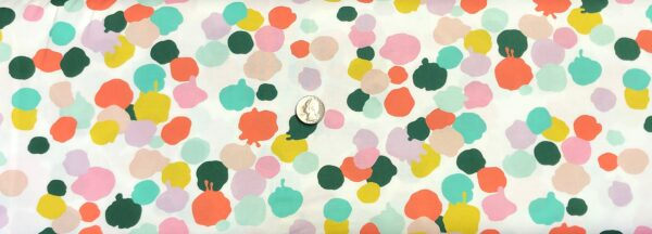 Alexander Henry 8681 C Paint Palette. Paint splats in green, pink, coral and lavender on white. Fabric by the yard