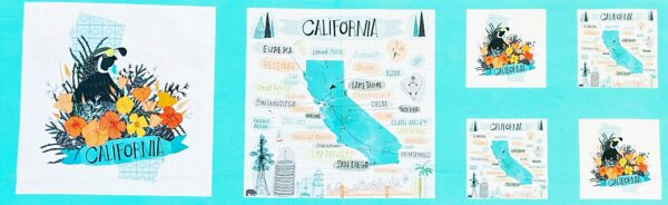 California panel in cool teals, sage and peach. 1/3 yard panel. Pacific Wanderings by Moda 13327 - Fabric by the yard