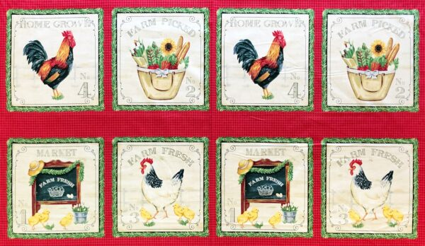 Beautiful chicken and garden panel in reds, greens and whites. Sunflower Market by Windham Fabrics 50618 - this is a 5/8th yard panel.
