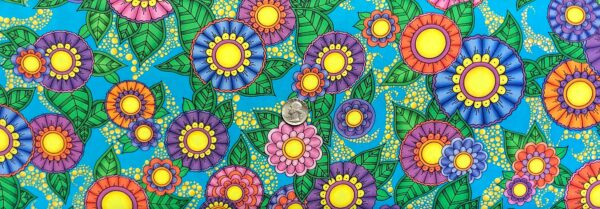 Groovy florals all over deep turquoise. Alpha Doodle by Quilting Treasures 27631 - Fabric by the yard