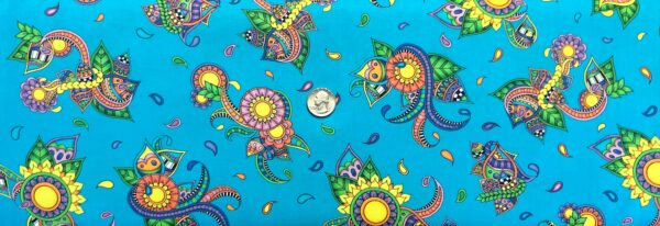 Groovy florals and paisleys all over deep turquoise. Alpha Doodle by Quilting Treasures 27631 - Fabric by the yard