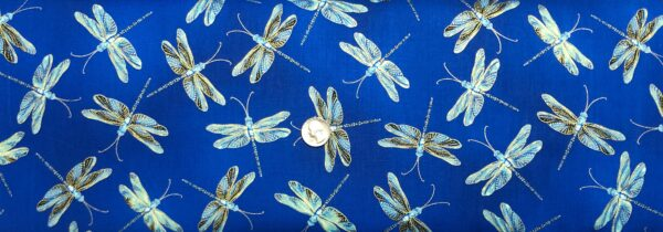 Dragonflies in teal, aqua and metallic gold on gorgeous royal blue. Moonlight Serenade by Kanvas 9752 - Fabric by the yard