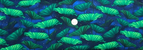Lilypads in beautiful emerald green on indigo blue. Moonlight Serenade by Kanvas 9753 - Fabric by the yard