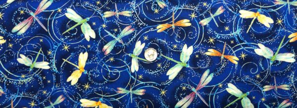 Dragonflies in multicolors buzzing allover blue. Night by Timeless Treasures CM8235 - Fabric by the yard