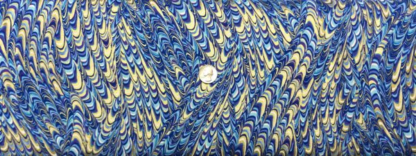 Butterfly wings in blues, purple and gold. Marbelized Wings Blue - Butterfly Jewel by Kanvas 8865 - Fabric by the yard