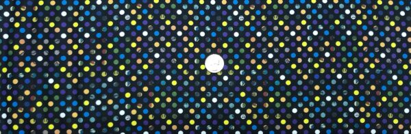 Votes for Women dots on black. Yellow, purple, orange, grey and green dots. Votes for Women by 12326 by Benartex - Fabric by the yard