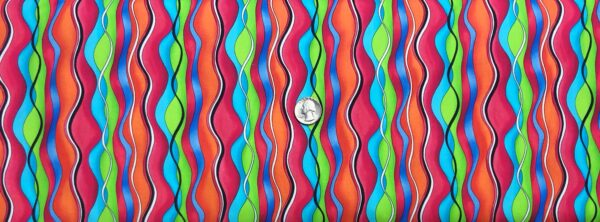 Mod squiggle lines in red, orange, blue, green, black and white. Jubilee by Quilting Treasures 27353 - Fabric by the yard