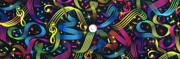 Music notes and symbols in rainbow colors on black. Music Multi by Timeless Treasures C5397 - Fabric by the yard