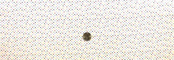 """Classic 1/8"""" multicolor dots on white cotton. Multi dots on white. Treasures From the Attic by Choice 49776 - Fabric by the yard"""