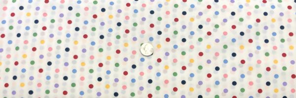 """Classic 1/4"""" multicolor dots on white cotton. Multi dots on white. Treasures From the Attic by Choice 49780 - Fabric by the yard"""