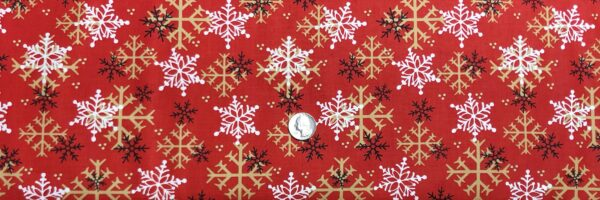 Snowflakes on red. Tan, white and black snowflakes. Timber Gnomies by Henry Glass 9268. - Fabric by the yard
