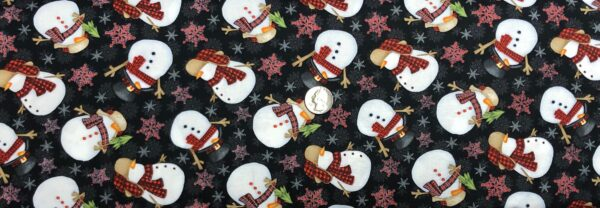 Snowmen in scarves all over black. Christmas snowmen all over. Timber Gnomies by Henry Glass 9272. - Fabric by the yard