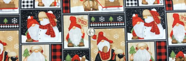 Gnomes, reindeer and snowmen in decorative squares. Timber Gnomies by Henry Glass 9269. - Fabric by the yard