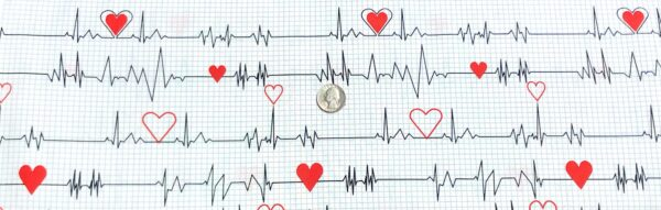 Nurse and doctor fabric. EKG and red hearts all over white graph. Calling All Nurses by Windham Fabrics 37302 - 2 - Fabric by the yard