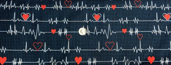 Nurse and doctor fabric. EKG and red hearts all over blue graph. Calling All Nurses by Windham Fabrics 37302 - 1 - Fabric by the yard