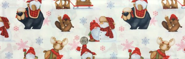 Gnomes, reindeer, bears, beavers and snowmen all over off white. Timber Gnomies by Henry Glass 9266. - Fabric by the yard