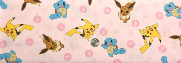 Pokemon all over pink. Pokemon by R. Kaufman 74441 - Fabric by the yard
