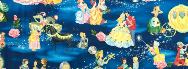 Cinderella, the Evil Step-Sisters, Fairy Godmother and Prince Charming all over tonal blue. Cinderallas Tale - The Buffalo Works BW 0170 0C