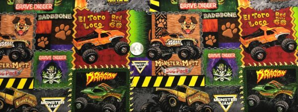 Monster Jam!! Monster Trucks in brilliant colors all over. Monster Jam by Print Concepts Inc. 10258 Fabric by the yard.