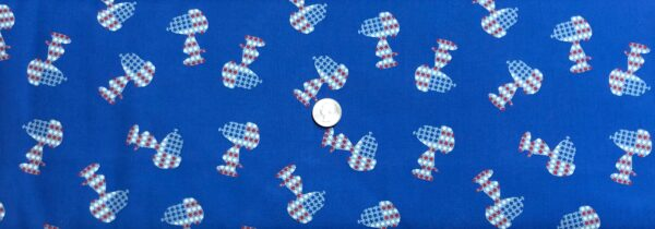 Snoopy in American Flag all over royal blue. Patriotic Snoopy by Springs Creative 20003 - Fabric by the yard