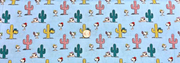 Snoopy and Uncle Spike with multicolor cactus on light blue. Snoopy and Cacti by Springs Creative 20140 - Fabric by the yard
