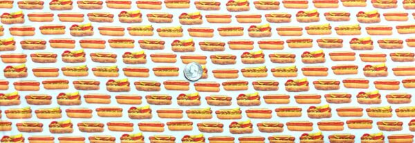Hot dog stripes! Chicago dog! All kinds of hot dogs. Rows of hot dogs. Chow Time by R. Kaufman 19786 202 - Fabric by the yard