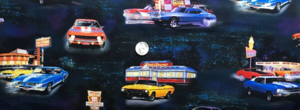 Muscle cars and Diners all over blue and purple tonal night sky on Kona cotton. On the Road by R. Kaufman 19646 - Fabric by the yard.