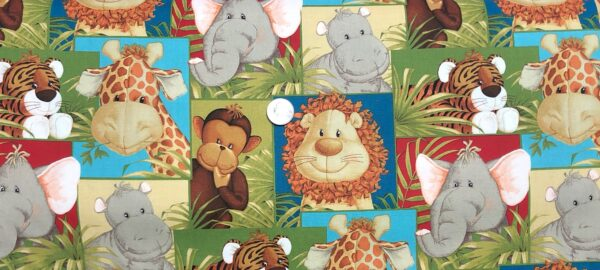 Jungle Babies patches. Lions, tigers, bears, giraffes, monkeys and more. 10026421 - Fabric by the yard.