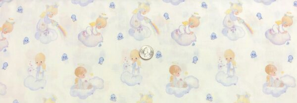 Precious moments angel babies in the clouds with blue birds. Angel Scenic by Springs Creative 20140 - Fabric by the yard.