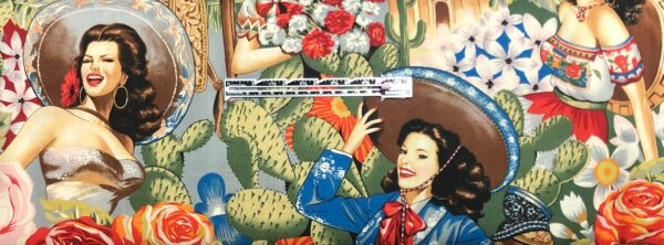 Senoritas and floral all over light grey. Roses, saddles and more all over. Alexander Henry 6542 B - fabric by the yard