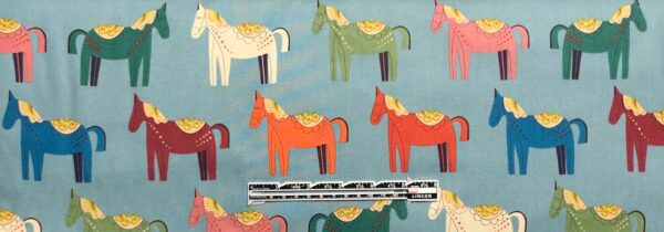 Folkloric horses all over blue. Folkloric Carita Caballo by Alexander Henry 8809 B - fabric by the yard