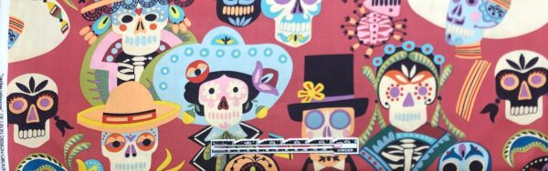 Decorative skulls all over deep dusty rose. Carita Calavares by Alexander Henry 8810 - fabric by the yard