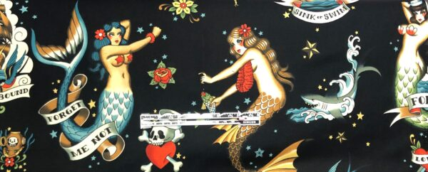 Alexander Henry 8832 B - Forget me not. Tattoo girls and sea things all over black. - fabric by the yard