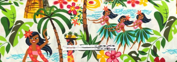Hula girls and island plants all over white. Leis, luaus and alohas by Alexander Henry 15093 AR - fabric by the yard