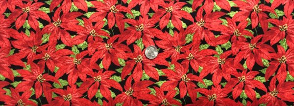 Beautiful poinsettia in red and green all over black. Festive Forest by Wilmington Prints 68476 - fabric by the yard