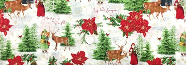 Snowy Christmas scene with Santa, poinsettias & barns allover soft white. Comfort and Joy by Wilmington Fabrics 51883 M - fabric by the yard