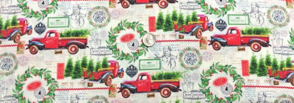 Christmas trees in red trucks, wreaths, snowmen and more Christmas cheer. Deck the Halls by Springs 20063 - fabric by the yard