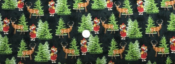 Snowy Christmas scene with Santa and reindeer all over soft black. Comfort and Joy by Wilmington Fabrics 51884 - fabric by the yard