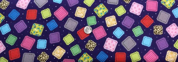 Colorful quilting squares all over purple. Crazy for Crafting by Quilting Treasures 26970 - Fabric by the yard.